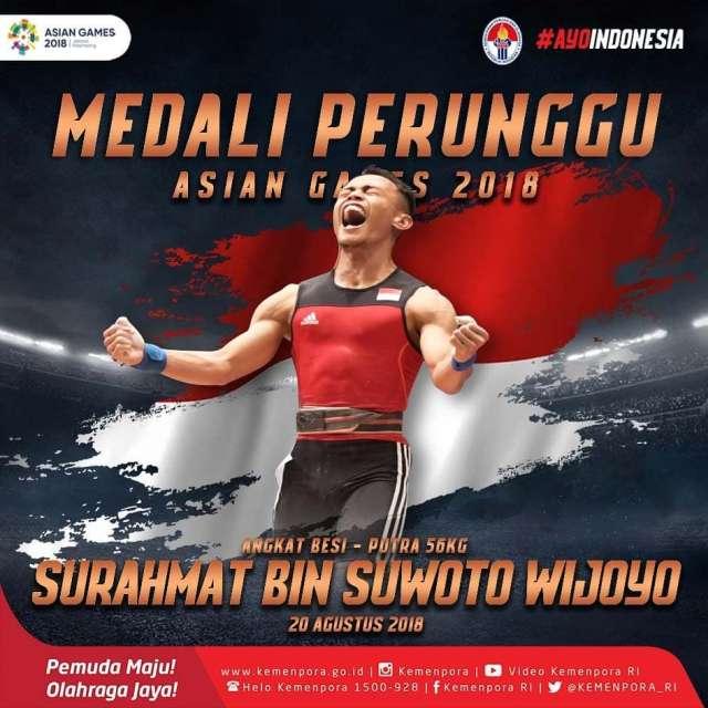 angkat besi! Selamat untuk Surahmat bin Suwoto Wijoyo yang mendapatkan medali perunggu untuk 56 kg putra