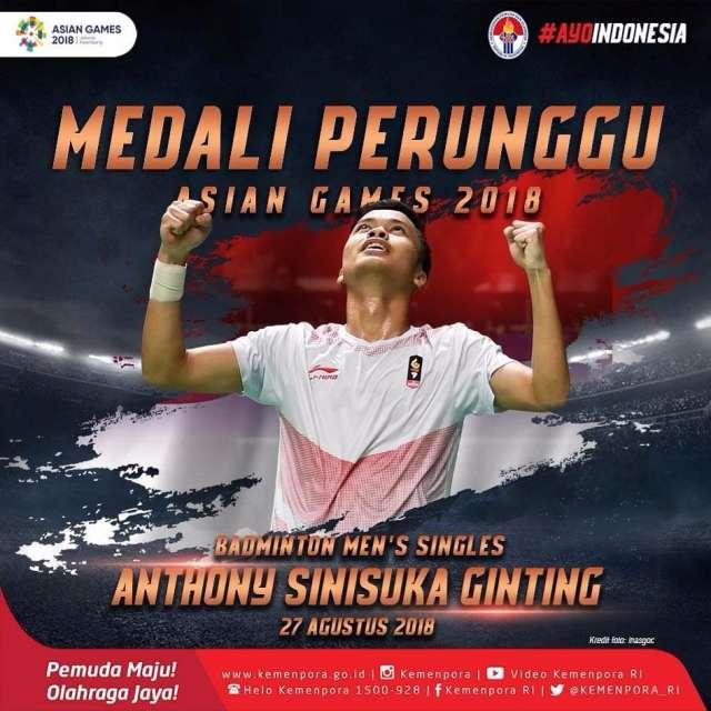 Anthony Sinisuka Ginting bukan gagal ke final tapi dia berhasil berjuang mendapatkan perunggu untuk Indonesia.