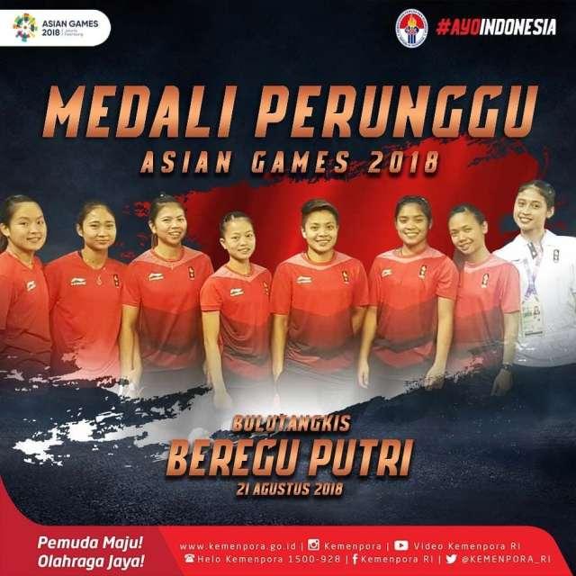 bulutangkis beregu putri Indonesia untuk medali perunggunya