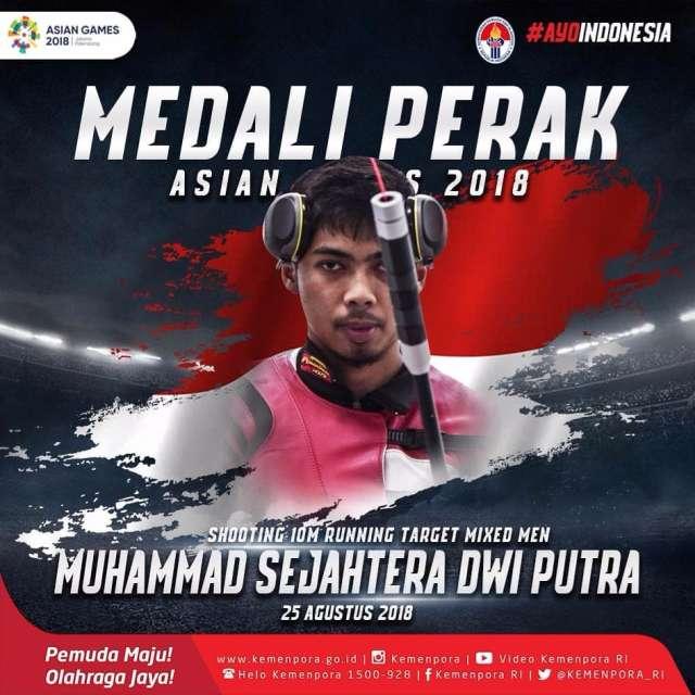 cabang olahraga menembak. Selamat untuk Muhammad Sejahtera Dwi Putra yang mendapatkan PERAK di nomor 10m running target mix men