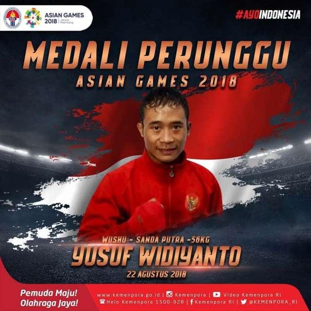 cabang Wushu. Selamat buat Yusuf Widiyanto yang mendapatkan perunggu di nomor sanda putra 56kg