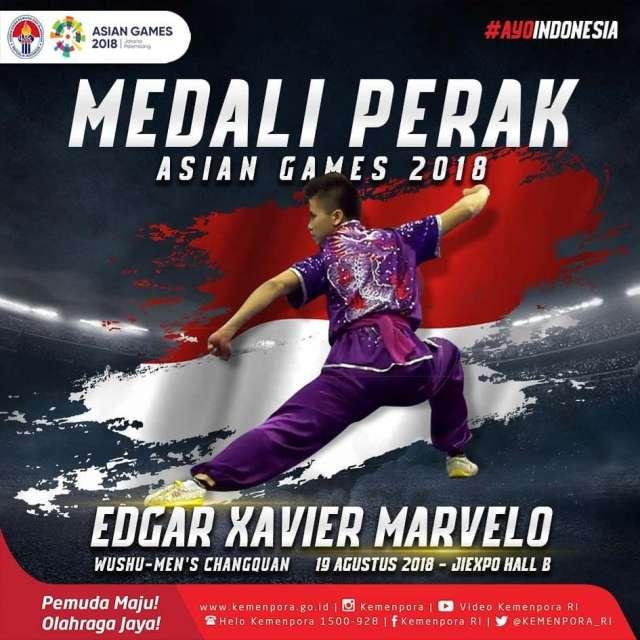 Edgar Xavier Marvelo telah berhasil mendapatkan perak di cabang olahraga wushu