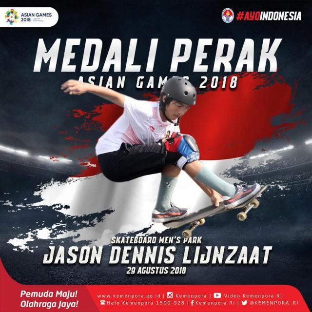 Medali PERAK dari Skateboard Men's Park kita raih dari Jason Dennis Lijnzaat.