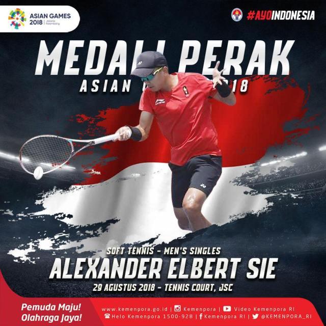 SOFT Tennis kembali persembahkan PERAK nomor Tunggal Putra dari Alexander Elbert Sie.