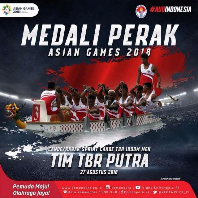 Tim Perahu Tradisional Putra Indonesia berhasil mempersembahkan medali perak